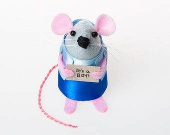 It's a Boy Mouse - collectable cute felt art rat mice gift for new parents celebrate the birth of a baby adorable artist felt boy mouse