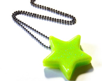 Lime Star Necklace, Green Apple Resin Pendant, Glitter Rave Jewelry
