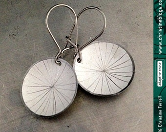 Etched Starburst -- Upcycled Tiny Basin Earrings -- You Choose the Color