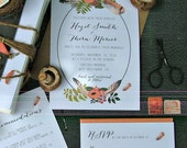 Wedding Invitations: Modern watercolor Feather & Floral Invitation