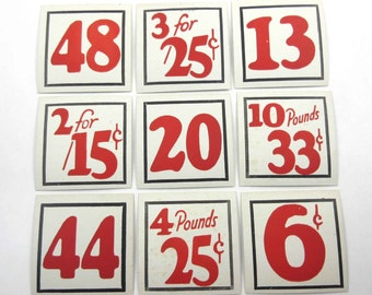 Vintage Set of 9 Store Pricing Tags with Large Red Numbers Lot C