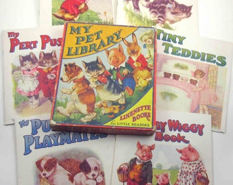 My Pet Library Linenette Books for Little Readers Vintage Children's 6 Piece Book Set by Sam'l Gabriel Sons & Co. Original Box Cat Dog Pig