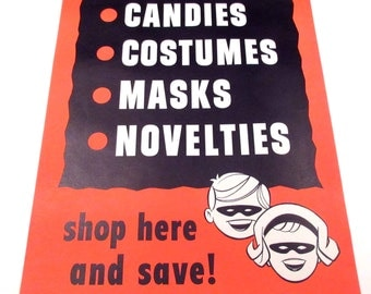 Vintage Large Halloween Store Decoration or Sign For Candies Costumes Masks and Novelties with Children in Masks