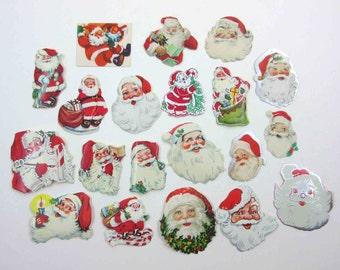 Vintage Santa Claus Christmas Gummed Seals Stickers or Labels Set of 20 Lot B