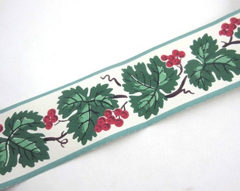 Full Unused Roll of Vintage Wallpaper Border with Pretty Red Berries and Green Leaves in Original Box by Trimz