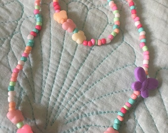 Butterfly garden 2 piece set stretch GIRL story fairytail multi pastel feel crytsal necklace kids pearls adorable