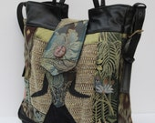 RESERVED For Leapinglizzards99 Large TOTE BAG Fabric and Leather It s A Jungle Out There
