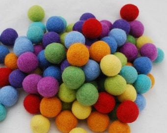 2.5cm - 100% Wool Felt Balls - 100 Count - Rainbow