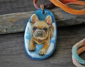 French Bulldog necklace- fused glass pendant