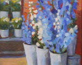 Floral Oil Painting on Canvas:  Blue Delphinium 11 x 14