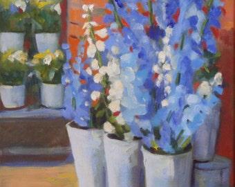 Floral Oil Painting on Canvas:  Blue Delphinium 11 x 14