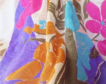 Vintage 1970's Vera Scarf in Periwinkle Fuchsia Pink Russet Orange Aqua Blue White Large Floral Scarf Faux Poly and Rayon Silk Square Scarf