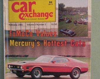 ON SALE Car Exchange Magazine Feb 1981 Antique Cars Mid Century 1953 Ford Mustang Mercury Cougar 1955  F-100 Pickup Truck Thunderbird