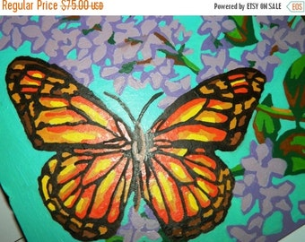 ON SALE Paint by Numbers, Vintage 1970's Monarch Butterflies & Lilacs Paint by Numbers Painting, Summer Wall Decor