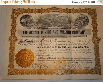 ON SALE 1910 The Arcade Mining and Milling Co. Stock Certificate, 3000 Shares, #232 Denver Colorado Mine Precious Metals Old West Western Am
