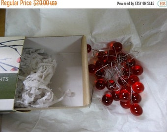 Raindrop Ornaments, Set Of 24 Red Holly Berry Ornaments Glass Wire Ornament Accents, Clear Glass Raindrop Christmas Accents Smith & Hawken