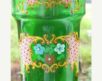 Valentines Day Sale Vintage Emeral Green Decanter, Made in Italy, Hand Painted, JAY Glassware, Cottage Chic, Liquor Bottle, Wine Bottle