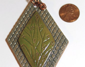 Hand Made Stoneware Pendant Necklace OOAK Diamond Green Blue Branches Wrapped Copper Wire