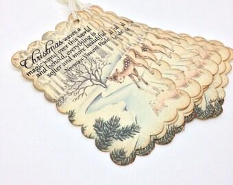 Handmade Vintage Style christmas Gift Tag Stamped Greetings Reindeer collage