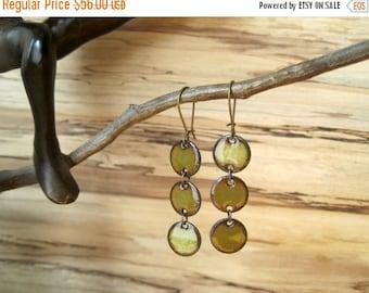 SALE Olive Green Chandelier Earrings, Green Dangle Earrings, Triple Copper Enamel Earrings, Moss Green, Nickel Free Kidney Ear wire, Handmad
