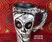 Vincent Van Gone Skull 16 oz Ceramic Travel Mug Handpainted Design for Day of the Dead and Beyond