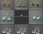Quartz Simple Round Earrings- 8 Colors Available