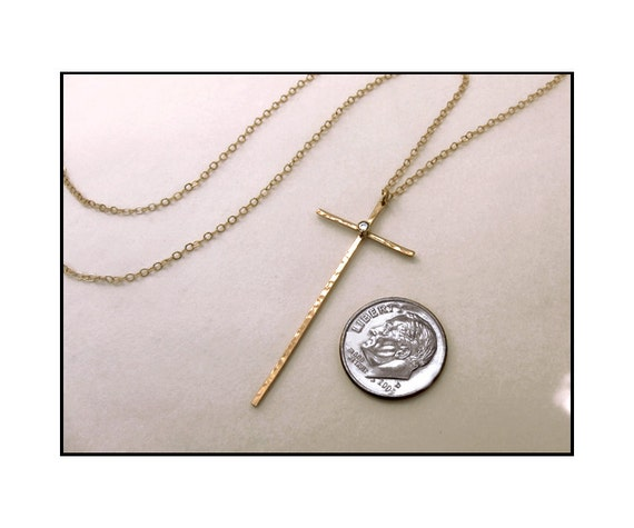 14k Gold and Diamond Long Thin Cross Necklace, Modern Cross Necklace, Spiritual Necklace
