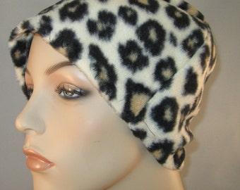 Leopard Print  Anti Pill Fleece Hat, Winter Hat, Cancer, Chemo Hat, Alopecia