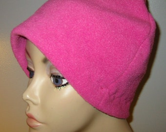 Rosy Pink  Anti Pill Fleece Hat, Winter Hat, Cancer, Chemo Hat, Alopecia