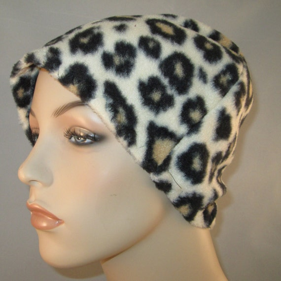 Leopard Print  Anti Pill Fleece Hat, Winter Hat, Cancer, Chemo Hat, Alopecia