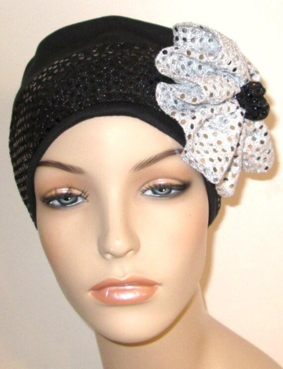 Black Flapper Hat Chemo Hat Roaring 20s Hat Alopecia Hijab Cancer Hat