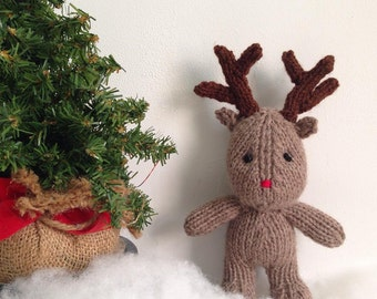 Hand knitted Rudolph Reindeer , newborn photography prop