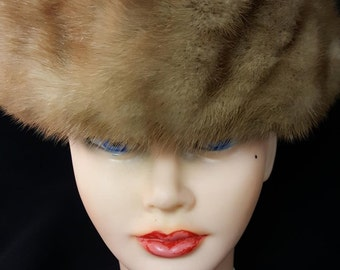 60's Vintage Mr. D  Mink Hat Dr Zhivago Pillbox Style Gorgeous Fur XLNT Condition
