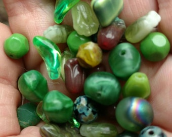 182 Mixed Greens Czech Pressed Glass Beads