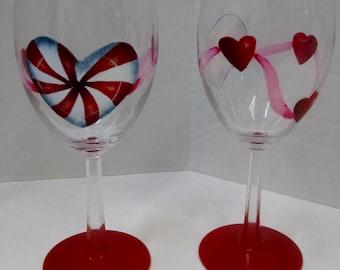 Wine Glasses Handpainted Hearts Ribbon