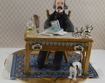 Nathaniel Hawthorne-  Author Doll-  Miniature Writer-  Classic Literature-  Great Writers in History