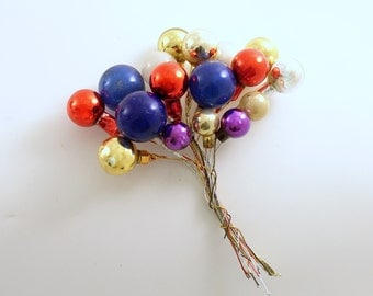Vintage Christmas Decoration Glass Ball Picks Corsage Picks
