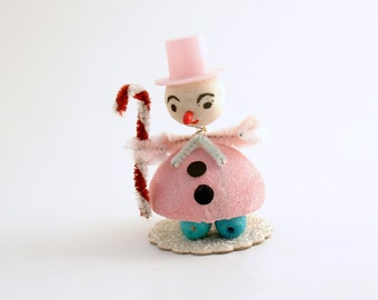 Vintage Snowman Christmas Ornament Bobblehead Nodder Pink Top Hat Christmas Decoration