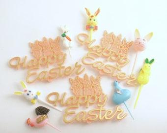 Vintage Easter Picks Rabbits Bunnies Chick Easter Decorations