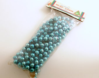 Vintage Glass Bead Garland, Aqua Glass Garland, Christmas Tree Decoration