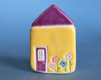 Little flower House Collectible Ceramic Miniature Clay House violet yellow