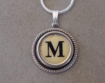 Typewriter key jewelry Necklace AGED CREAM LETTER M Typewriter Key Necklace Serif font M  Initial Necklace M