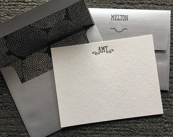 Letterpress Note Cards - Thank You Notes - Personalized Note Cards