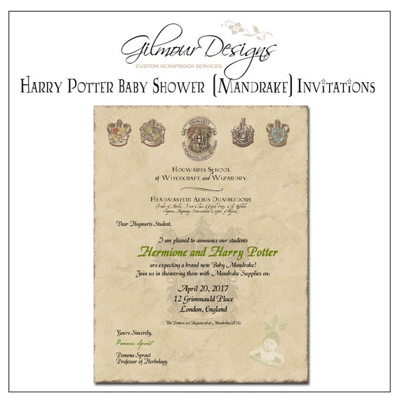 Harry Potter Baby Shower: Personalized Printable Harry Potter Baby Mandrake Shower