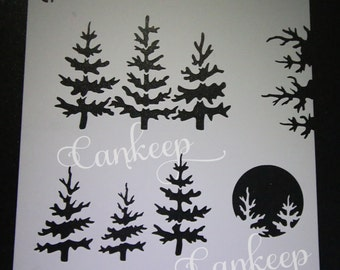 "Cookie Stencil - Evergreen Forest- Tree Silhouette stencil - 6""x6"""