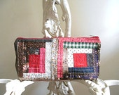 Vintage quilt log cabin zip pouch - eco recycled fabrics