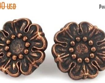 ON SALE Copper Flower Post Earrings