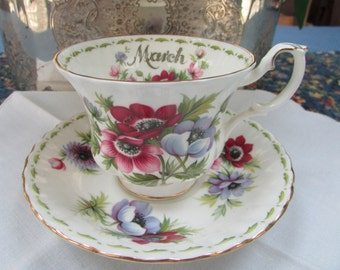 "VINTAGE - From England - ""March"" teacup - Royal Albert Flower of the Month"