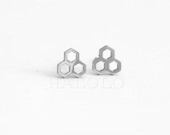 Beehive Stainless Steel Stud Earring Post Finding Stud Post Finding (EX047)