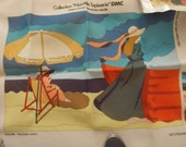 Large French Tapestry CANVAS Nouvelle Tapisserie DMC Needlepoint Ladies at the Beach Ocean
